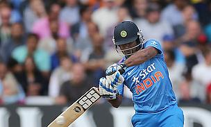 Ambati Rayudu plays a shot against England