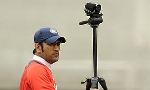 MS Dhoni gets ready to record a training session