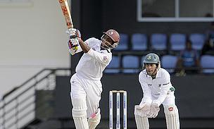 Shivnarine Chanderpaul hits out during his unbeaten half-century