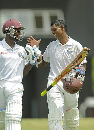 Shivnarine Chanderpaul (right) hit his 30th Test century before the West Indies declared