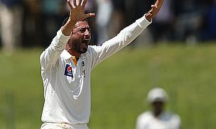 Junaid Khan appeals for a wicket