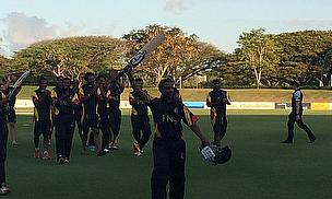 Vani Morea celebrates after his unbeaten half-century sealed victory
