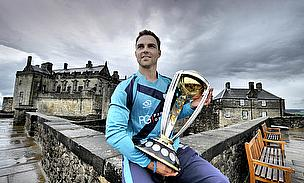 Preston Mommsen looks on with the ICC Cricket World Cup Qualifying Trophy at Stirling Castle after the Trophy toured Scotland