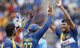 Suranga Lakmal celebrates