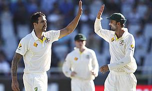 Mitchell Johnson and Nathan Lyon