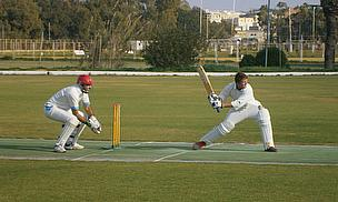 Action from the match between Krishna Kobras and Marsa Magpies