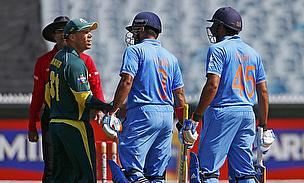 David Warner confronts Rohit Sharma