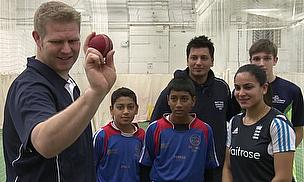 Matthew Hoggard (far left) and Don Bhagawati (third right) at the launch in Leicester