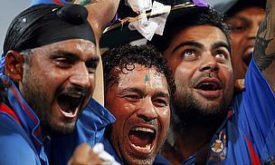 Harbhajan Singh (left) and Sachin Tendulkar (centre) make this World Cup squad of absentees