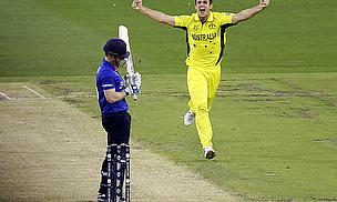 Mitchell Marsh celebrates after dismissing Eoin Morgan