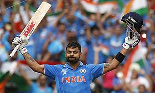 Virat Kohli celebrates his century against Pakistan