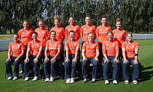 Charlotte Edwards (centre, front) took charge of England for the 200th time in Lincoln