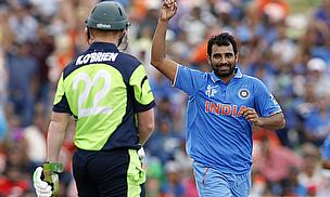Mohammad Shami celebrates the dismissal of Kevin O'Brien