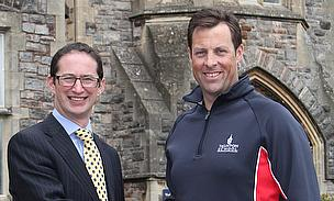 Marcus Trescothick pictured with Taunton School headmaster Lee Glaser