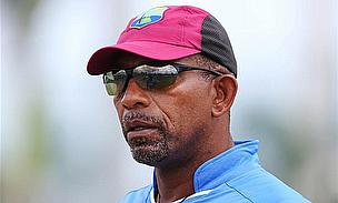Phil Simmons in action during the net session at the Sir Vivian Richards Stadium.