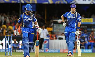 Ajinkya Rahane (left) and Shane Watson (right) registered a record opening partnership as Rajasthan Royals defeated Chennai Super Kings by eight wicke