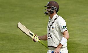 Kevin Pietersen reacts after getting dismissed against Glamorgan on Sunday.