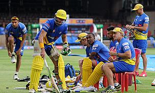 Chennai Super Kings during a practice session at the Chinnaswamy Stadium, Bengaluru.
