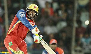 Chris Gayle hits out during Royal Challengers Bangalore's win over Delhi Daredevils