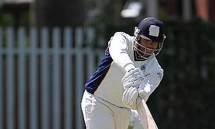 Tyrone Lawrence hits out during the course of his 46 not out for Sale against Christleton