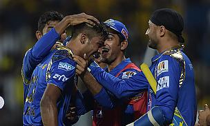 Hardik Pandya congratulated by his team mates as Mumbai Indians defeated Chennai Super Kings by six wickets at the MA Chidambaram Stadium.