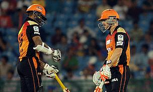 Shikhar Dhawan (left) and David Warner (right) in action during Sunrisers Hyderabad's clash against Delhi Daredevils in Raipur.