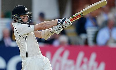 Kane Williamson in action during day two of the Lord's Test against England.