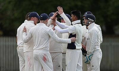 The 1st XI celebrate a wicket against Tattenhall