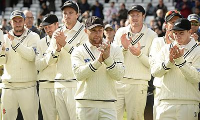 Brendon McCullum and his team mates applauds after winning the second Test against England in Headingley.