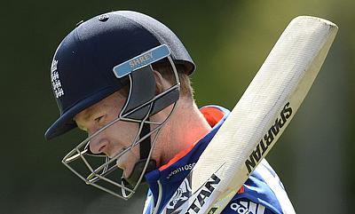 Eoin Morgan in a training session ahead of the first One-Day International against New Zealand.