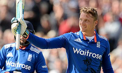 Jos Buttler (right) celebrates his century in the first One-Day International against New Zealand in Birmingham