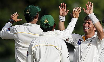 Yasir Shah celebrating the wicket of Tharindu Kaushal during the second day of the second Test against Sri Lanka in Colombo.
