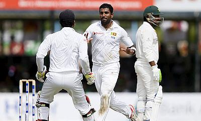 Dhammika Prasad registered figures of 4-92 as Sri Lanka need 153 to level the series on the final day in Colombo.