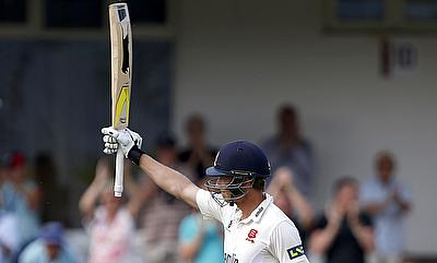 Tom Westley celebrating his century in the tour game against Australia in Chelmsford.