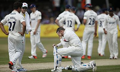 Michael Clarke reacts after the dismissal of Shane Watson on day three of the tour game against Essex.