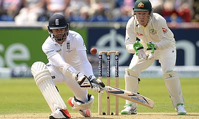 James Anderson reverse sweeps during day two of the first Ashes Test in Cardiff