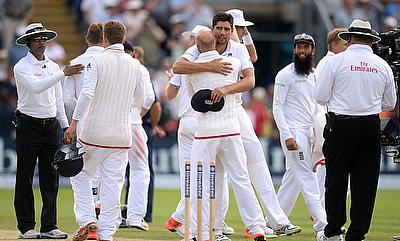 England players celebrating the 169-run win over Australia in the first Ashes Test in Cardiff.