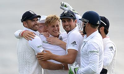 England players celebrating the win in the first Ashes Test in Cardiff.