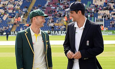 L-R: Opposing captains Michael Clarke and Alastair Cook