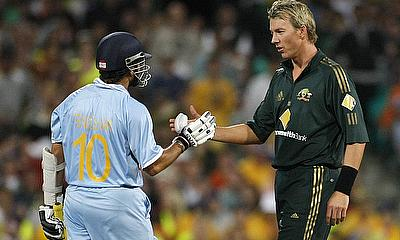 Brett Lee and Sachin Tendulkar following one of their many on-field battles