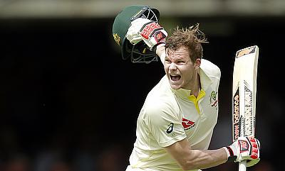 Steven Smith celebrates his double century against England on day two of the second Test at Lord's.