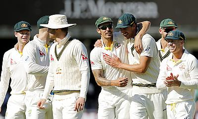 Australian players celebrating the win against England in the second Test at Lord's.