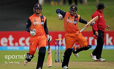 Netherlands players celebrating their victory over Namibia in the second Qualifying play-off in Dublin.