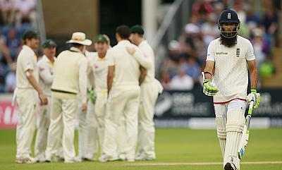 Moeen Ali walks off after being dismissed at Lord's