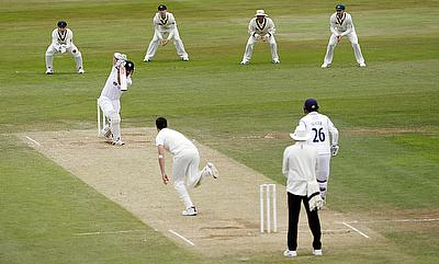 Pat Cummins dismissing Hamish Rutherford on day two of the tour game between Australia and Derbyshire in Derby.