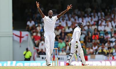 Jason Holder appeals for a wicket
