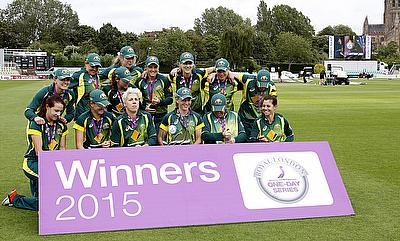 Australian women celebrate winning the Royal London One-Day International series.