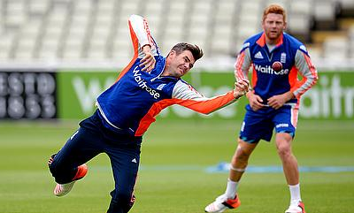 England's James Anderson (left) and Jonny Bairstow (right) during a training session in Birmingham.