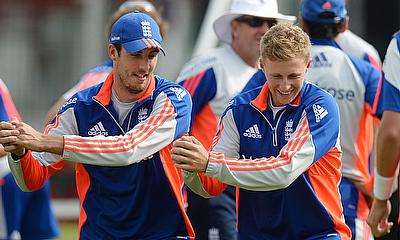 Steven Finn and Joe Root training for England