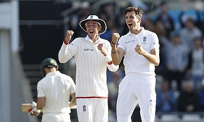 Stuart Broad and Steven Finn celebrate during the Edgbaston Ashes Test